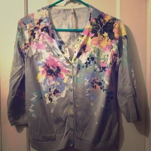 Beautiful water color floral print cardigan
